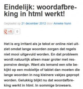 voorbeeld van woordafbreking in html
